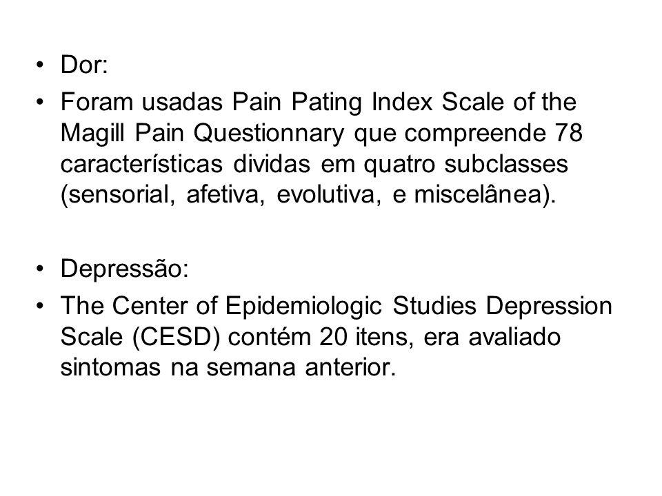 Dor: Foram usadas Pain Pating Index Scale of the Magill Pain Questionnary que compreende 78 características dividas em quatro subclasses (sensorial, a