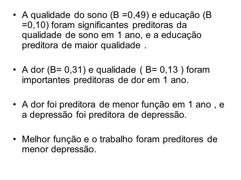 A qualidade do sono (B =0,49) e educação (B =0,10) foram significantes preditoras da qualidade de sono em 1 ano, e a educação preditora de maior quali