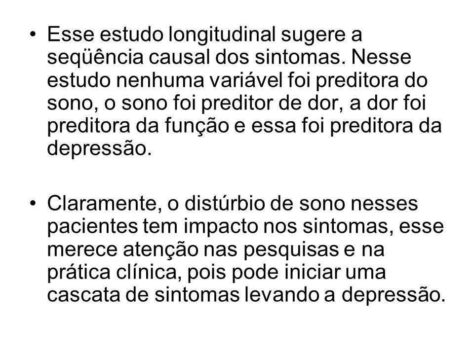 Esse estudo longitudinal sugere a seqüência causal dos sintomas. Nesse estudo nenhuma variável foi preditora do sono, o sono foi preditor de dor, a do