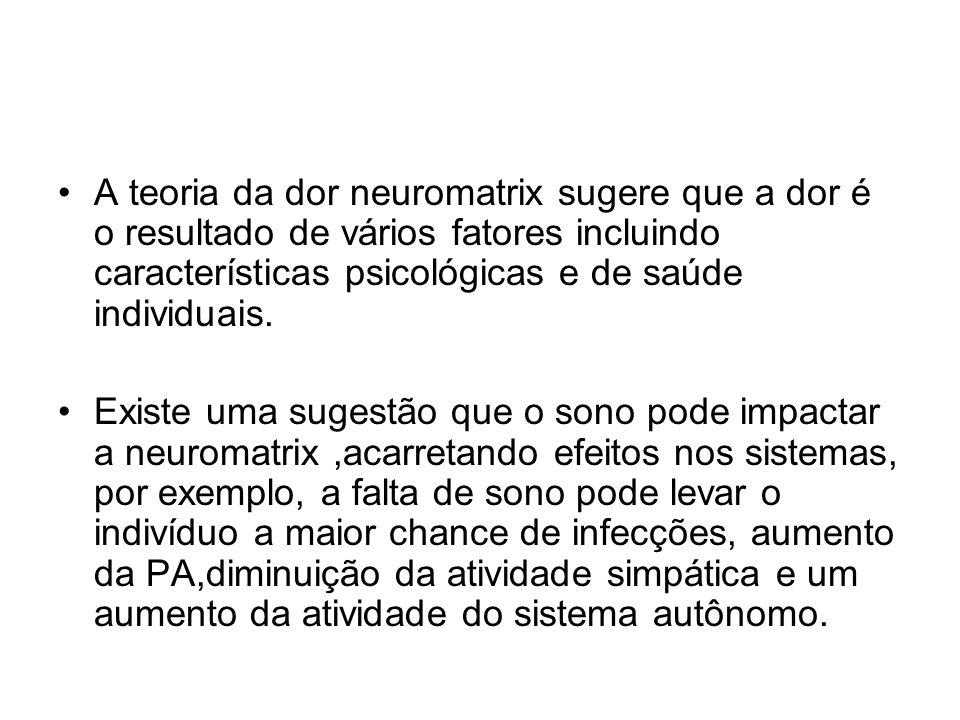 A teoria da dor neuromatrix sugere que a dor é o resultado de vários fatores incluindo características psicológicas e de saúde individuais. Existe uma