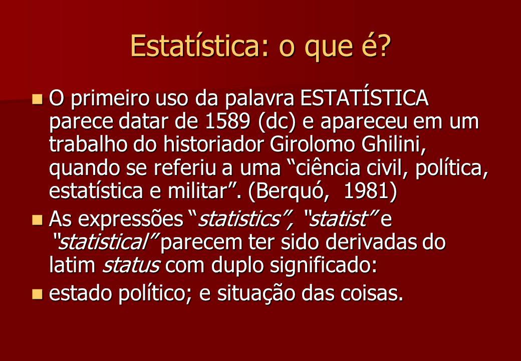 Estatística: o que é? O primeiro uso da palavra ESTATÍSTICA parece datar de 1589 (dc) e apareceu em um trabalho do historiador Girolomo Ghilini, quand
