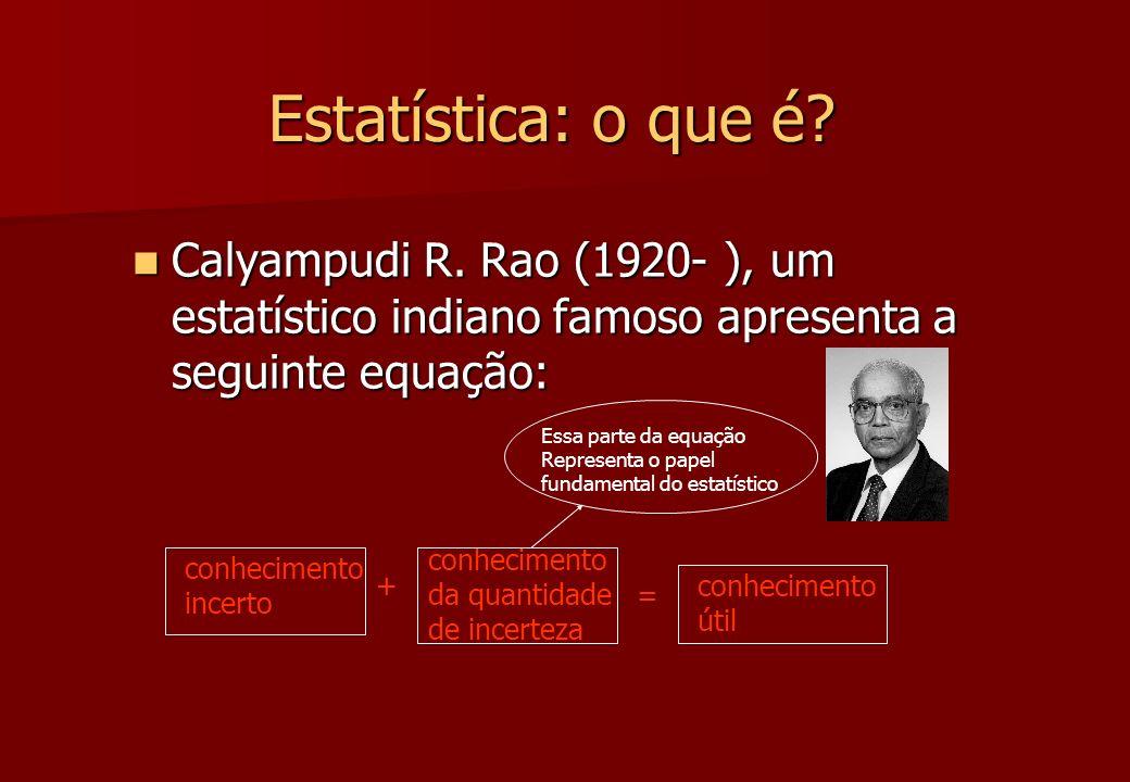 Estatística: o que é? Calyampudi R. Rao (1920- ), um estatístico indiano famoso apresenta a seguinte equação: Calyampudi R. Rao (1920- ), um estatísti