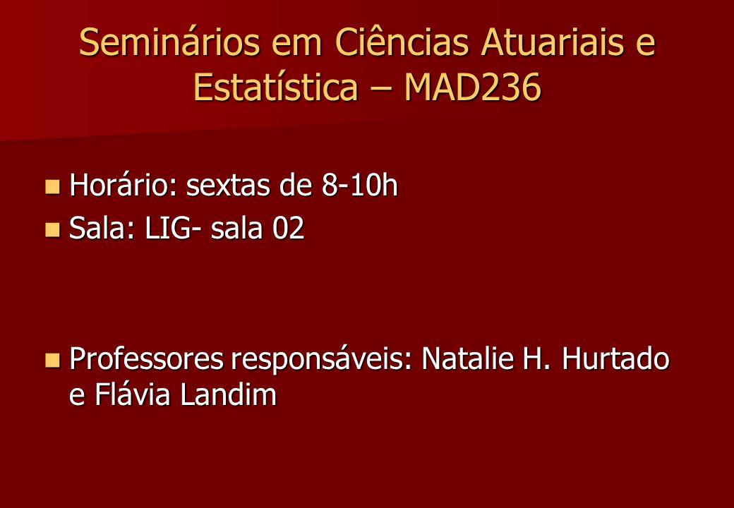 Seminários em Ciências Atuariais e Estatística – MAD236 Horário: sextas de 8-10h Horário: sextas de 8-10h Sala: LIG- sala 02 Sala: LIG- sala 02 Profes