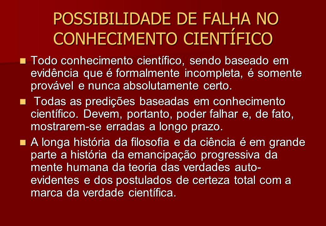 POSSIBILIDADE DE FALHA NO CONHECIMENTO CIENTÍFICO POSSIBILIDADE DE FALHA NO CONHECIMENTO CIENTÍFICO Todo conhecimento científico, sendo baseado em evi