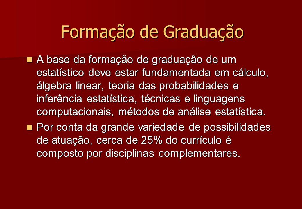 Formação de Graduação A base da formação de graduação de um estatístico deve estar fundamentada em cálculo, álgebra linear, teoria das probabilidades