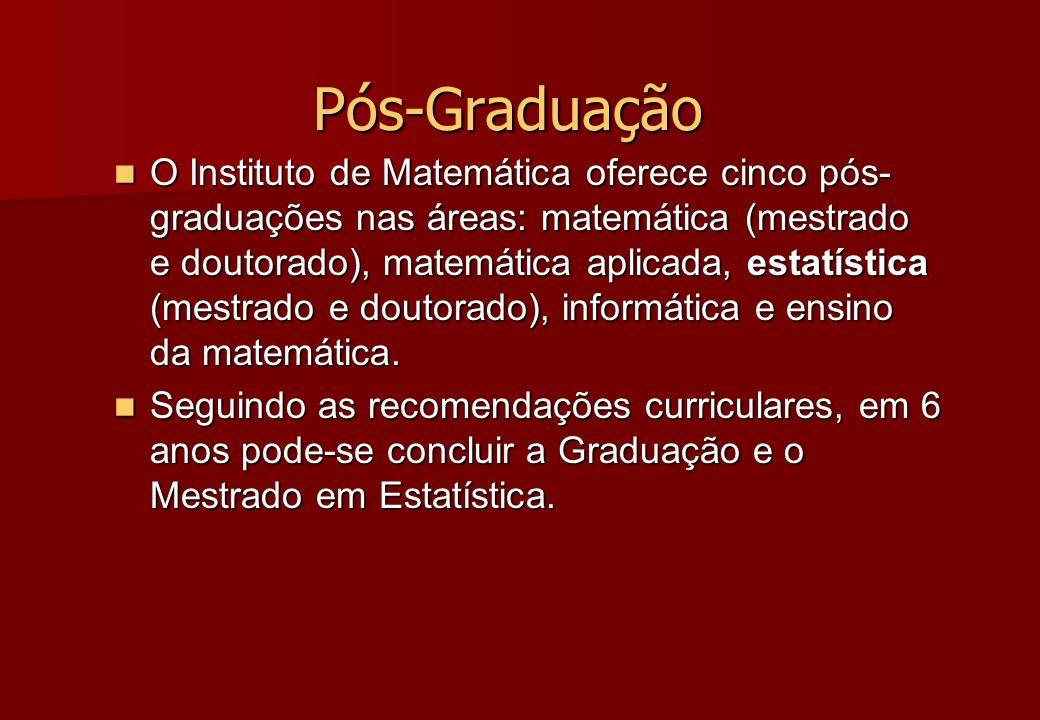 Pós-Graduação O Instituto de Matemática oferece cinco pós- graduações nas áreas: matemática (mestrado e doutorado), matemática aplicada, estatística (