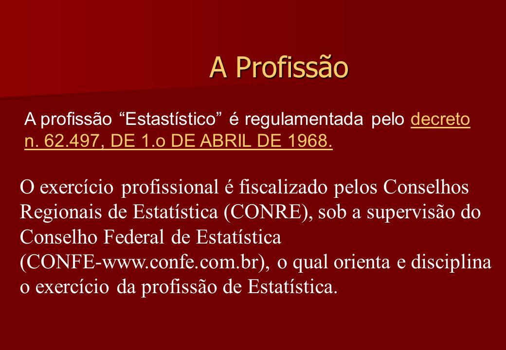 A Profissão O exercício profissional é fiscalizado pelos Conselhos Regionais de Estatística (CONRE), sob a supervisão do Conselho Federal de Estatísti