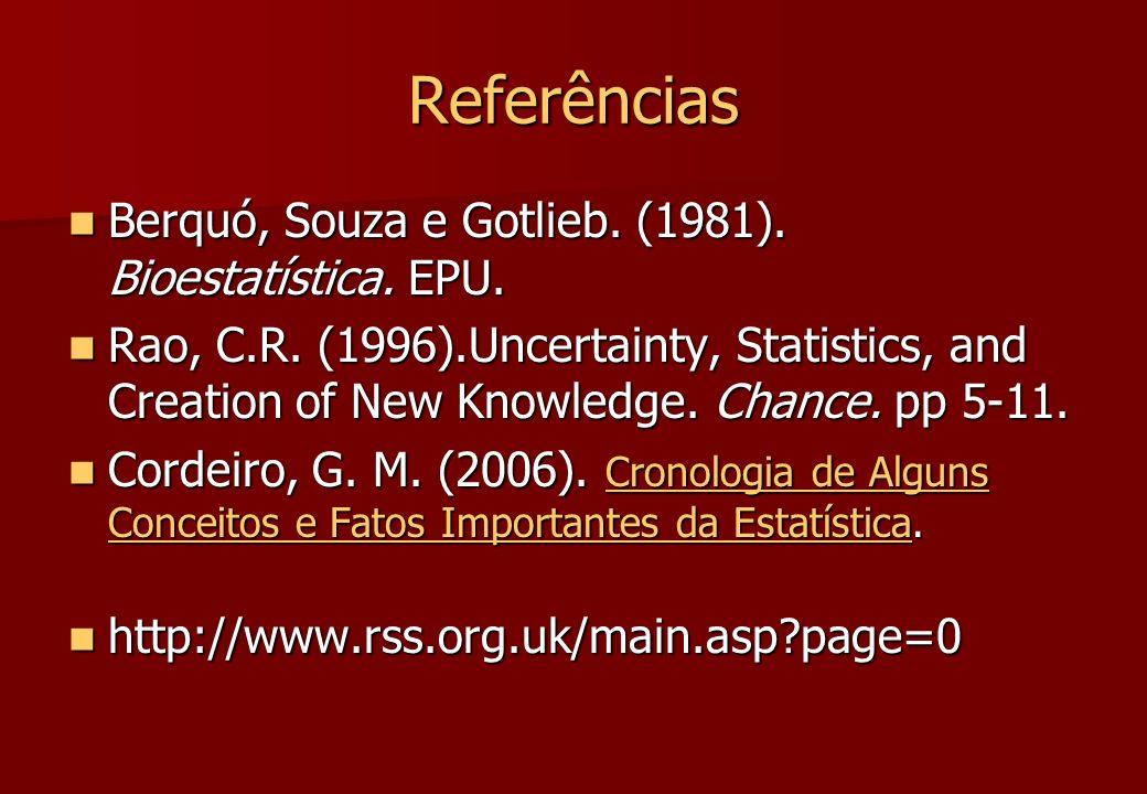 Referências Berquó, Souza e Gotlieb. (1981). Bioestatística. EPU. Berquó, Souza e Gotlieb. (1981). Bioestatística. EPU. Rao, C.R. (1996).Uncertainty,