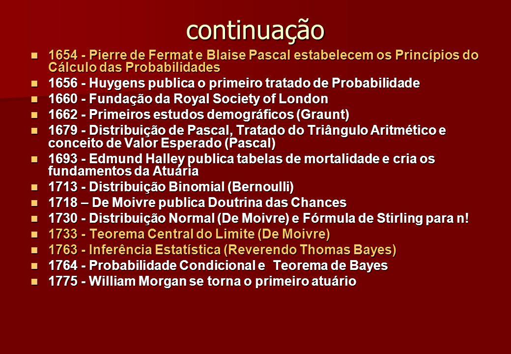 1777 - Primeiro exemplo de uso da verossimilhança na estimação de parâmetro (Daniel Bernoulli) 1777 - Primeiro exemplo de uso da verossimilhança na estimação de parâmetro (Daniel Bernoulli) 1800 - A França estabelece o seu Bureau de Estatística 1800 - A França estabelece o seu Bureau de Estatística 1805 - Método dos Mínimos Quadrados (Legendre) 1805 - Método dos Mínimos Quadrados (Legendre) 1810 - Teorema Central do Limite (Laplace) 1810 - Teorema Central do Limite (Laplace) 1812 - Théorie Analytique des Probabilités – sendo a base da Inferência (Laplace) 1812 - Théorie Analytique des Probabilités – sendo a base da Inferência (Laplace) 1820 - Várias sociedades de Estatística são criadas 1820 - Várias sociedades de Estatística são criadas 1834 - Primeiro Computador Analítico (Charles Babbage) e Fundação do Journal of the Royal Statistical Society - B 1834 - Primeiro Computador Analítico (Charles Babbage) e Fundação do Journal of the Royal Statistical Society - B 1835 - Lei dos Grandes Números (Poisson) 1835 - Lei dos Grandes Números (Poisson) 1836 - Distribuição Gama 1836 - Distribuição Gama 1837 - Distribuição de Poisson 1837 - Distribuição de Poisson 1839 - Fundação da American Statistical Association (ASA) 1839 - Fundação da American Statistical Association (ASA)