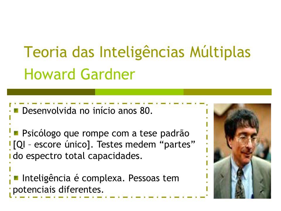 Teoria das Inteligências Múltiplas Howard Gardner Desenvolvida no início anos 80. Psicólogo que rompe com a tese padrão [QI – escore único]. Testes me