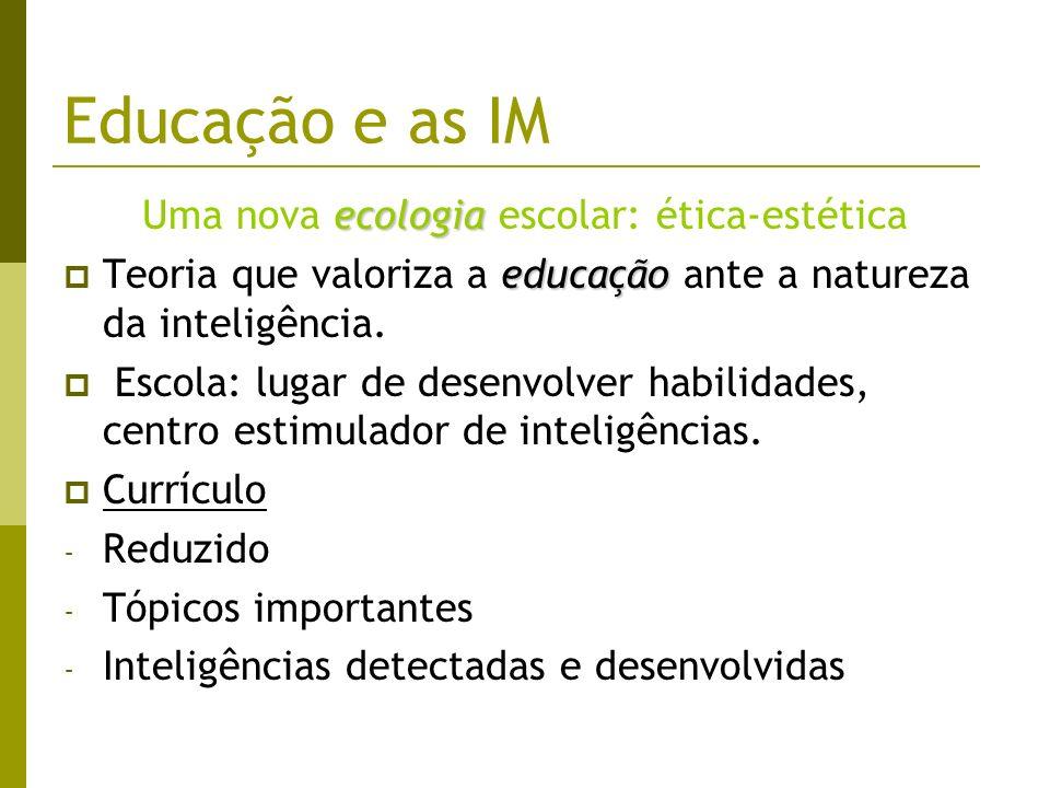 Educação e as IM ecologia Uma nova ecologia escolar: ética-estética educação Teoria que valoriza a educação ante a natureza da inteligência. Escola: l