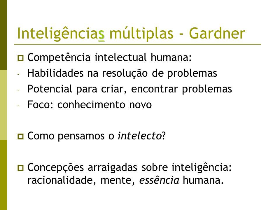 Inteligências múltiplas - Gardner Competência cognitiva: a) Raízes biológicas e evolutivas b) Variações culturais c) Especificações psicológicas Variáveis importantes: - Dotação biológica (hereditariedade) - História de vida pessoal - Referencial histórico e cultural