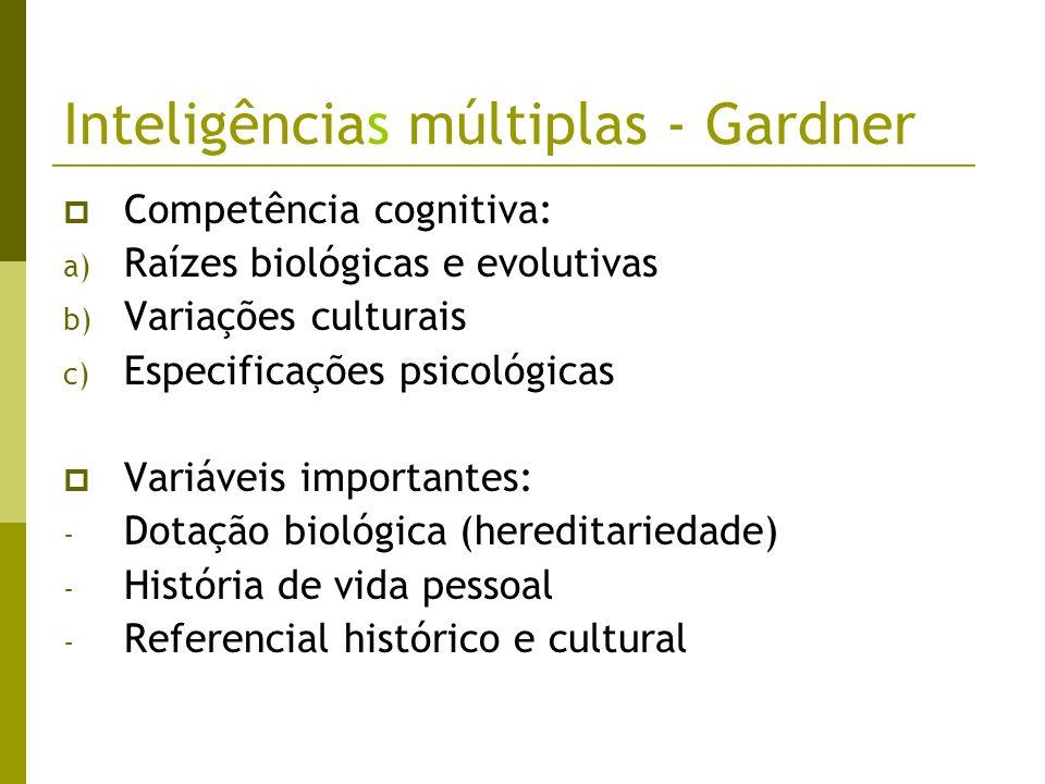 Inteligências múltiplas - Gardner Competência cognitiva: a) Raízes biológicas e evolutivas b) Variações culturais c) Especificações psicológicas Variá