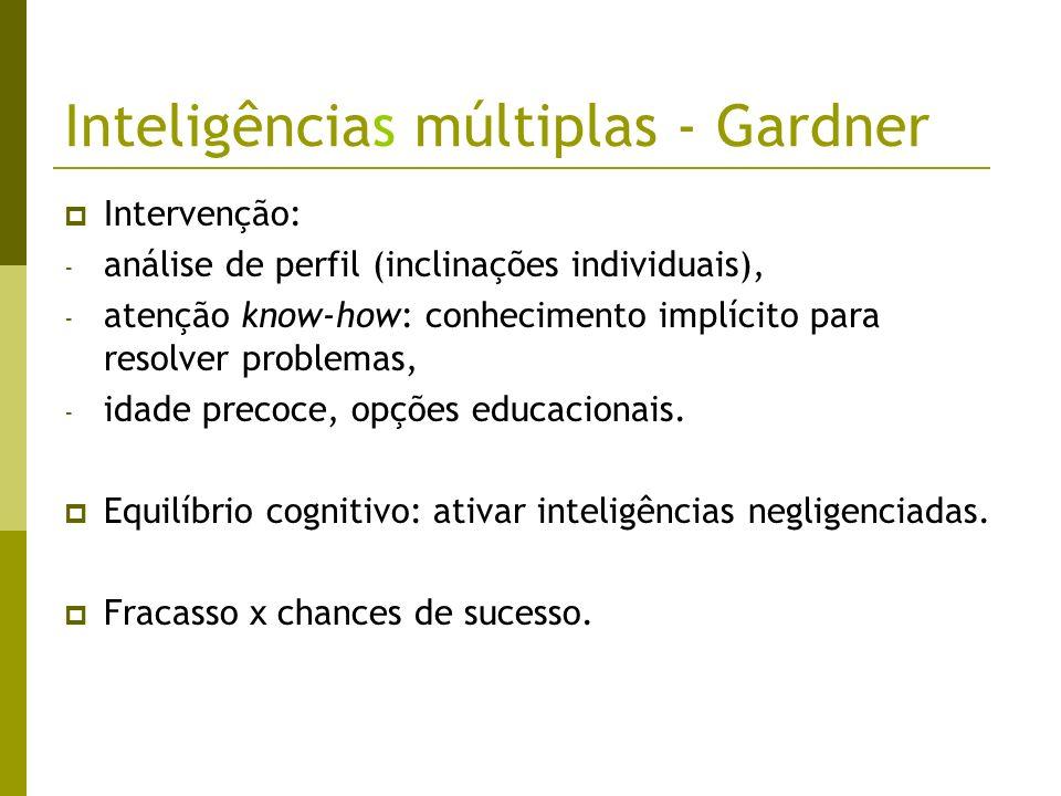 Inteligências múltiplas - Gardner Intervenção: - análise de perfil (inclinações individuais), - atenção know-how: conhecimento implícito para resolver