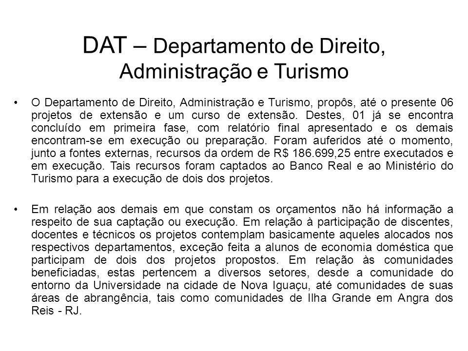 O Departamento de Direito, Administração e Turismo, propôs, até o presente 06 projetos de extensão e um curso de extensão. Destes, 01 já se encontra c