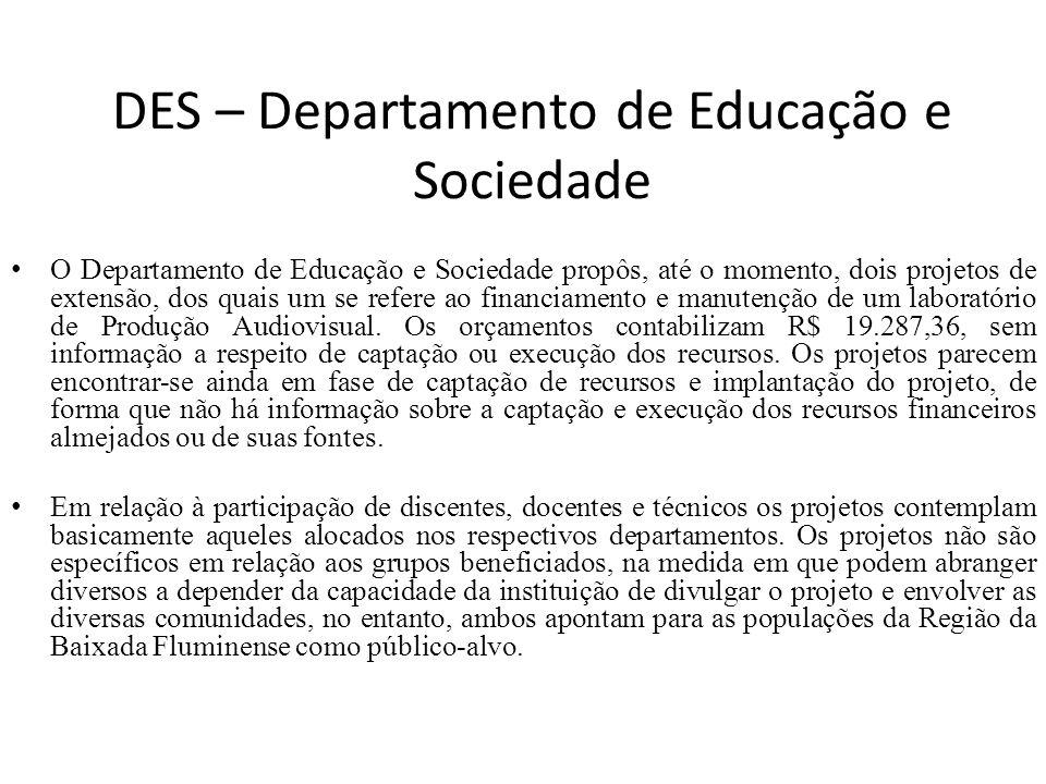 DES – Departamento de Educação e Sociedade O Departamento de Educação e Sociedade propôs, até o momento, dois projetos de extensão, dos quais um se re