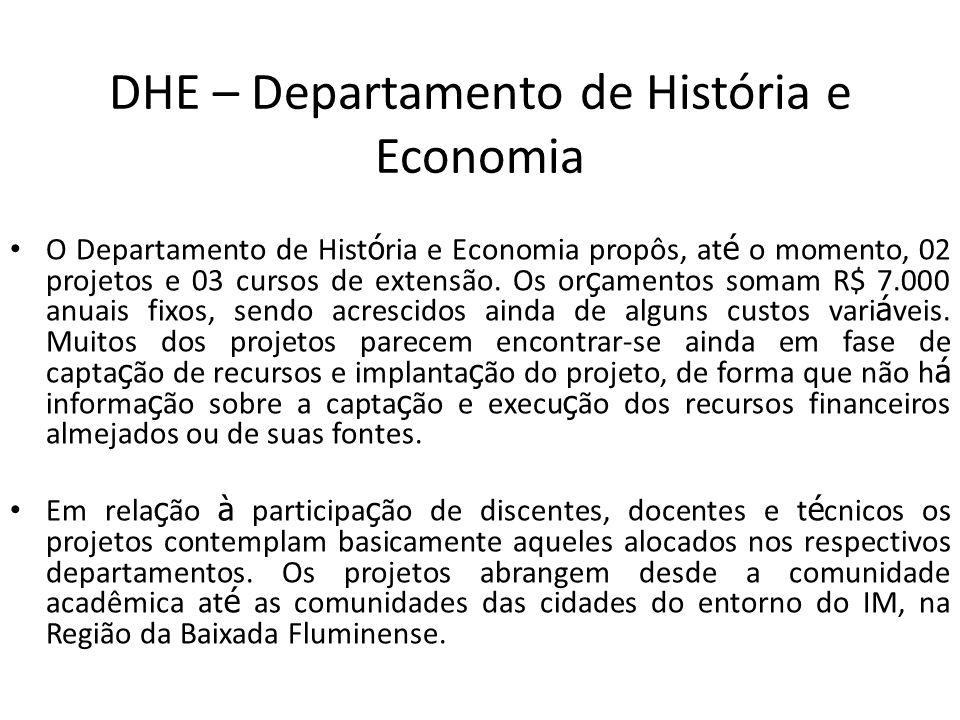 DHE – Departamento de História e Economia O Departamento de Hist ó ria e Economia propôs, at é o momento, 02 projetos e 03 cursos de extensão. Os or ç