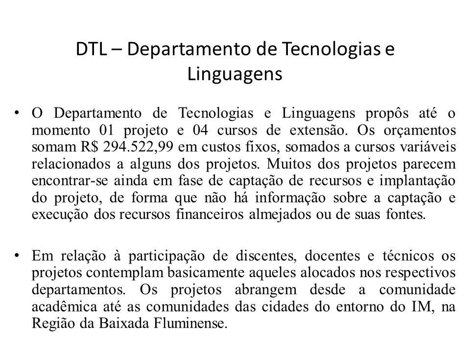 DTL – Departamento de Tecnologias e Linguagens O Departamento de Tecnologias e Linguagens propôs até o momento 01 projeto e 04 cursos de extensão. Os