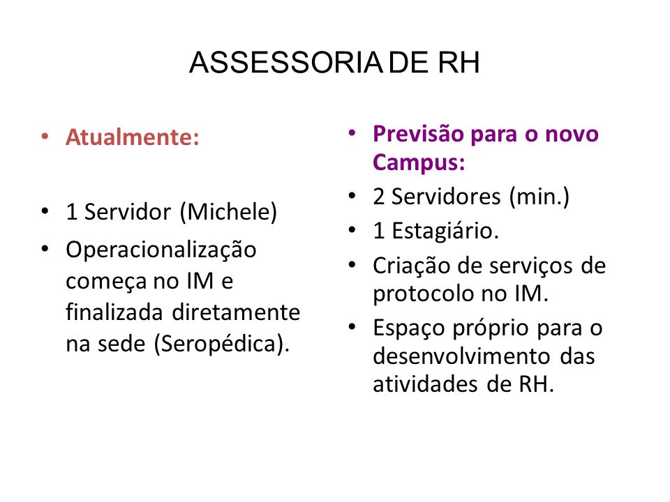 ASSESSORIA DE RH Atualmente: 1 Servidor (Michele) Operacionalização começa no IM e finalizada diretamente na sede (Seropédica). Previsão para o novo C