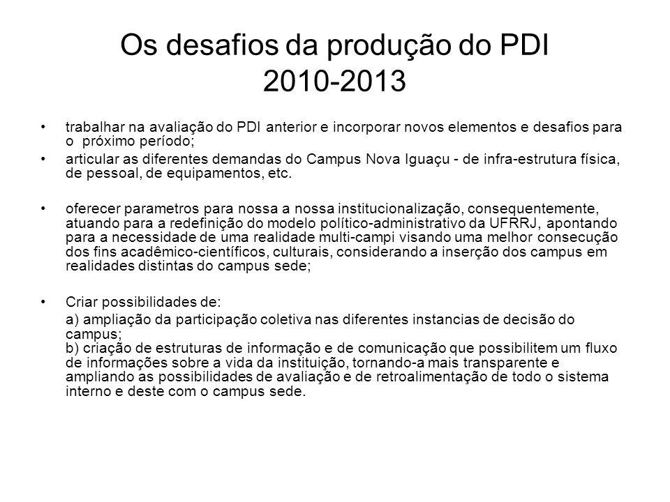 Os desafios da produção do PDI 2010-2013 trabalhar na avaliação do PDI anterior e incorporar novos elementos e desafios para o próximo período; articu