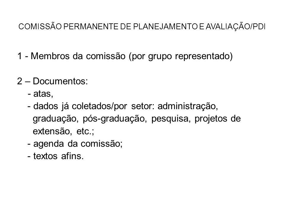 COMISSÃO PERMANENTE DE PLANEJAMENTO E AVALIAÇÃO/PDI 1 - Membros da comissão (por grupo representado) 2 – Documentos: - atas, - dados já coletados/por