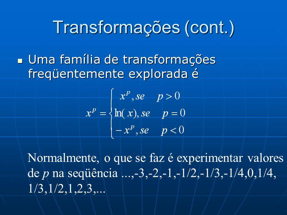 Transformações (cont.) Uma família de transformações freqüentemente explorada é Uma família de transformações freqüentemente explorada é Normalmente,