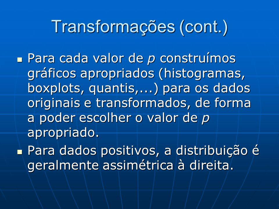 Transformações (cont.) Para cada valor de p construímos gráficos apropriados (histogramas, boxplots, quantis,...) para os dados originais e transforma
