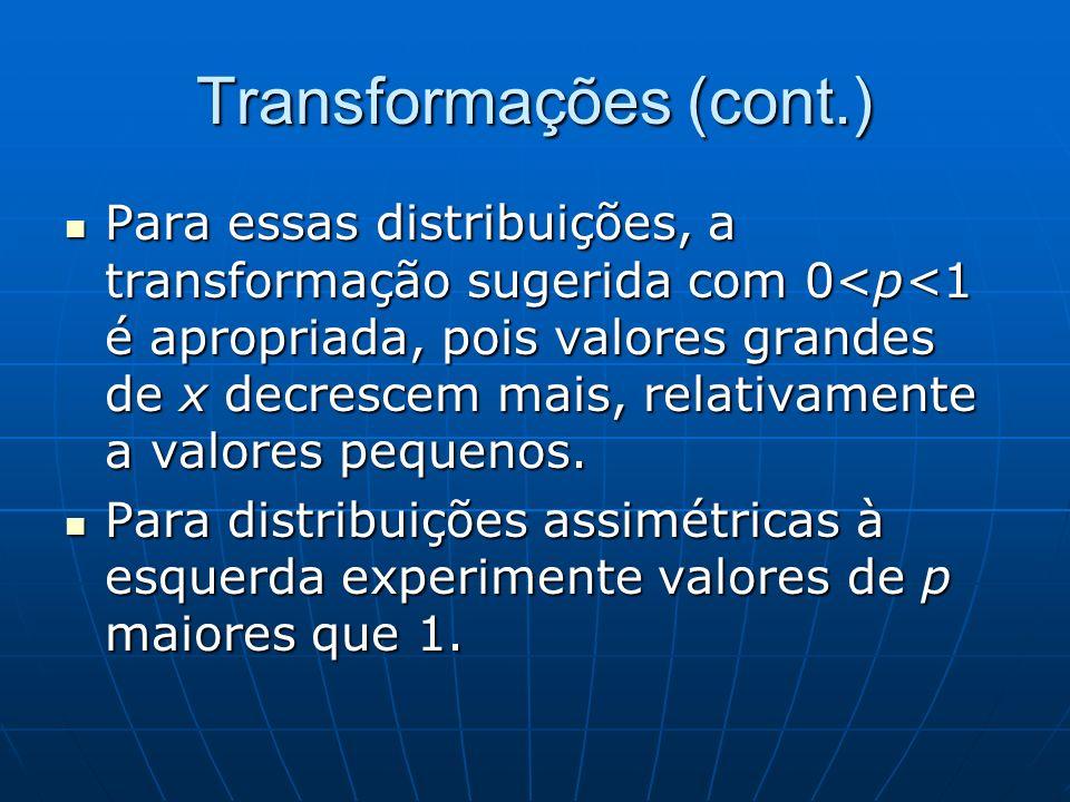 Transformações (cont.) Para essas distribuições, a transformação sugerida com 0<p<1 é apropriada, pois valores grandes de x decrescem mais, relativame