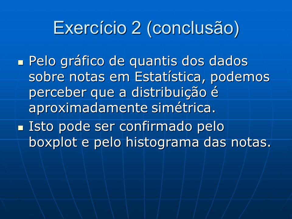 Exercício 2 (conclusão) Pelo gráfico de quantis dos dados sobre notas em Estatística, podemos perceber que a distribuição é aproximadamente simétrica.