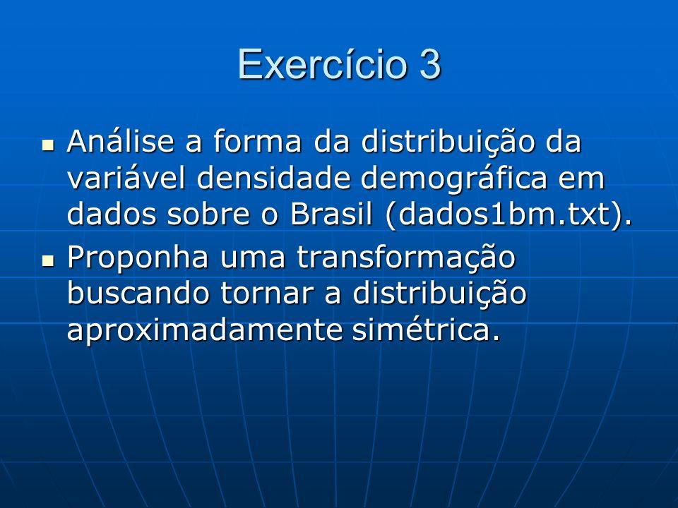Exercício 3 Análise a forma da distribuição da variável densidade demográfica em dados sobre o Brasil (dados1bm.txt). Análise a forma da distribuição