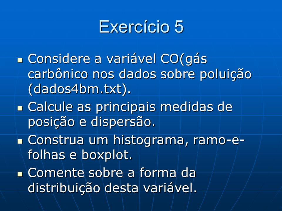 Exercício 5 Considere a variável CO(gás carbônico nos dados sobre poluição (dados4bm.txt). Considere a variável CO(gás carbônico nos dados sobre polui