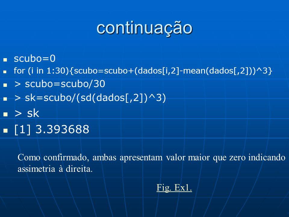 continuação scubo=0 for (i in 1:30){scubo=scubo+(dados[i,2]-mean(dados[,2]))^3} > scubo=scubo/30 > sk=scubo/(sd(dados[,2])^3) > sk [1] 3.393688 Como c