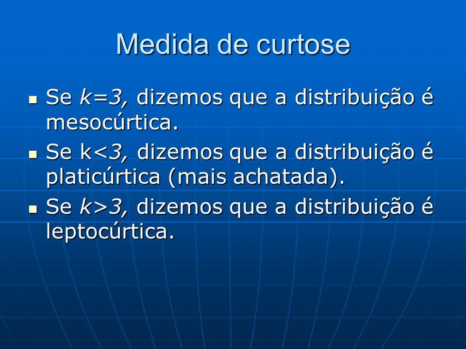 Medida de curtose Se k=3, dizemos que a distribuição é mesocúrtica. Se k=3, dizemos que a distribuição é mesocúrtica. Se k<3, dizemos que a distribuiç