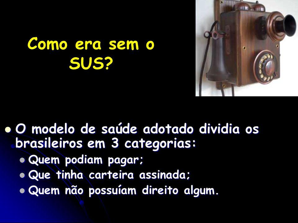 Como era sem o SUS? O modelo de saúde adotado dividia os brasileiros em 3 categorias: O modelo de saúde adotado dividia os brasileiros em 3 categorias