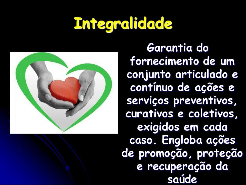 Integralidade Garantia do fornecimento de um conjunto articulado e contínuo de ações e serviços preventivos, curativos e coletivos, exigidos em cada c