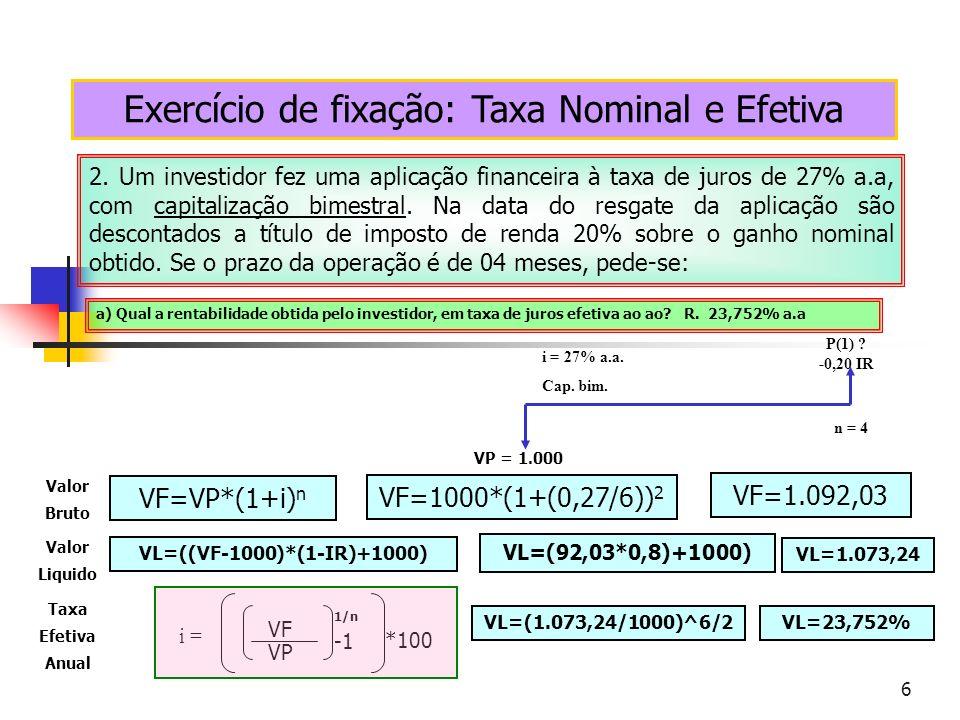 6 Exercício de fixação: Taxa Nominal e Efetiva 2. Um investidor fez uma aplicação financeira à taxa de juros de 27% a.a, com capitalização bimestral.