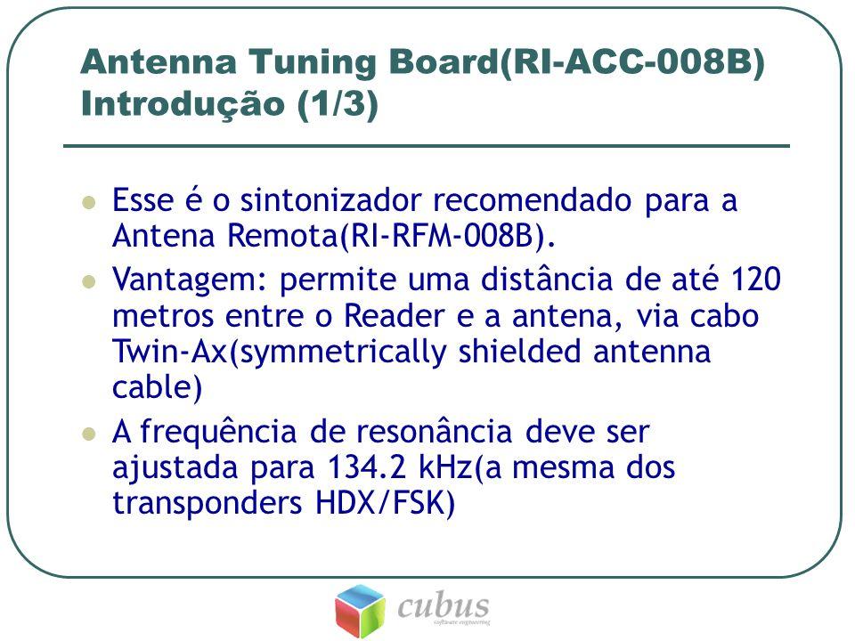 Antenna Tuning Board(RI-ACC-008B) Sintonizando (2/3) A frequência de resonância é fixada a partir de um ajuste de capacitância do sintonizador pelos jumpers de controle dos capacitores.