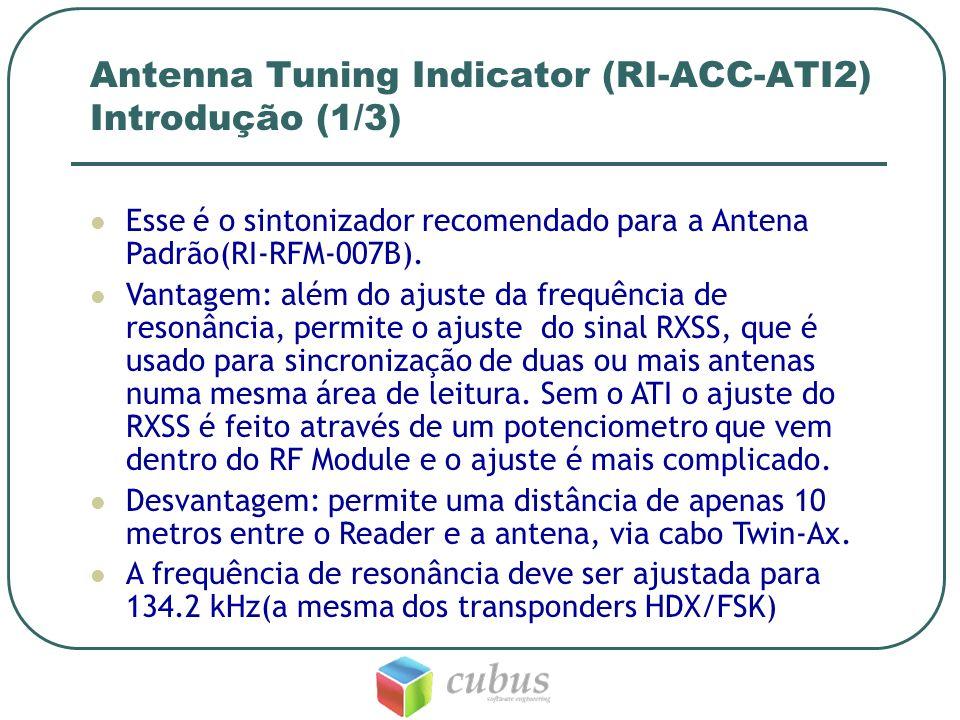 Antenna Tuning Indicator (RI-ACC-ATI2) Introdução (1/3) Esse é o sintonizador recomendado para a Antena Padrão(RI-RFM-007B). Vantagem: além do ajuste