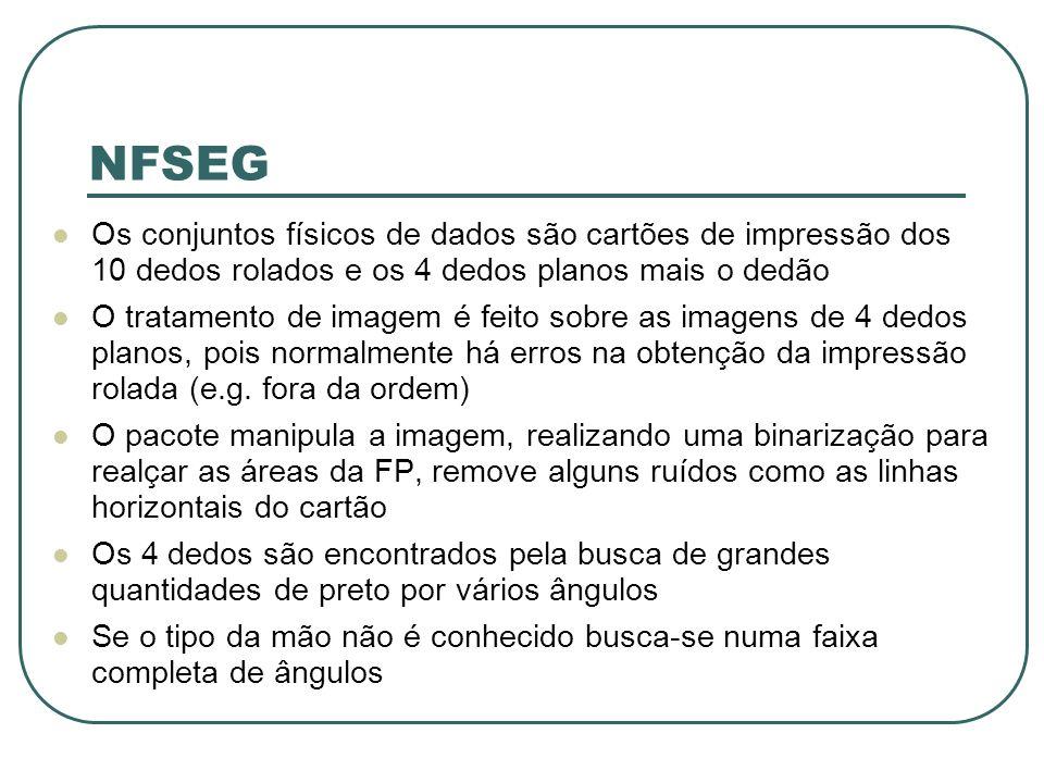 NFSEG Os conjuntos físicos de dados são cartões de impressão dos 10 dedos rolados e os 4 dedos planos mais o dedão O tratamento de imagem é feito sobre as imagens de 4 dedos planos, pois normalmente há erros na obtenção da impressão rolada (e.g.