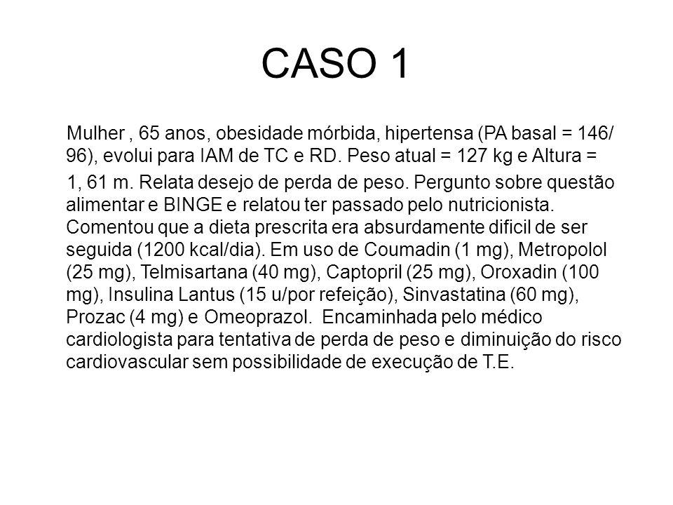 CASO 1 Mulher, 65 anos, obesidade mórbida, hipertensa (PA basal = 146/ 96), evolui para IAM de TC e RD. Peso atual = 127 kg e Altura = 1, 61 m. Relata