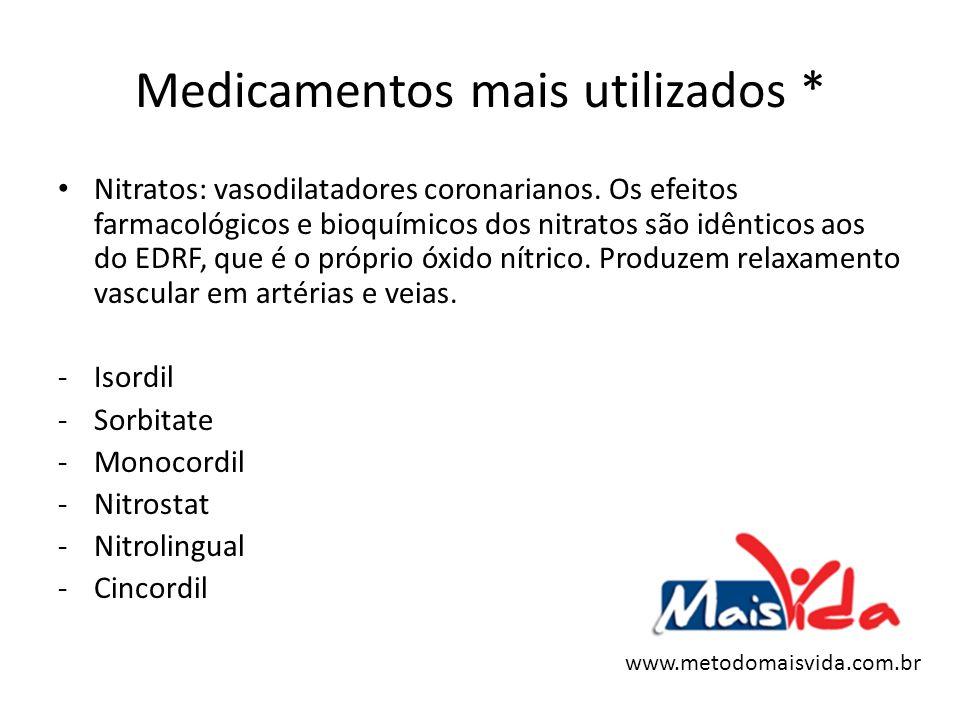 Medicamentos mais utilizados * Nitratos: vasodilatadores coronarianos. Os efeitos farmacológicos e bioquímicos dos nitratos são idênticos aos do EDRF,