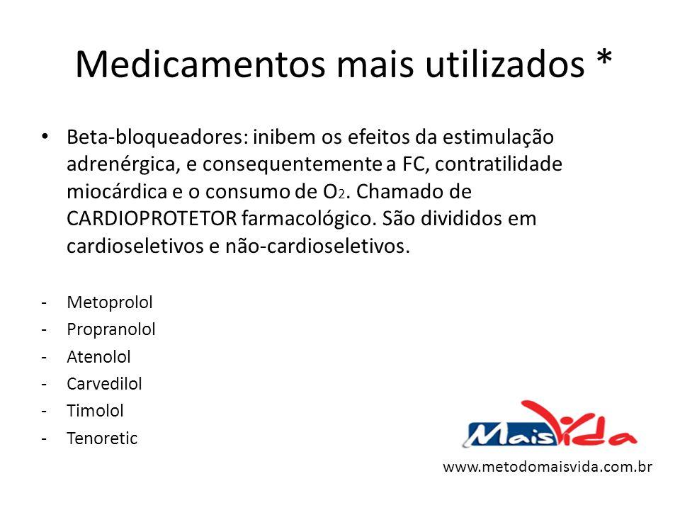 Medicamentos mais utilizados * Beta-bloqueadores: inibem os efeitos da estimulação adrenérgica, e consequentemente a FC, contratilidade miocárdica e o