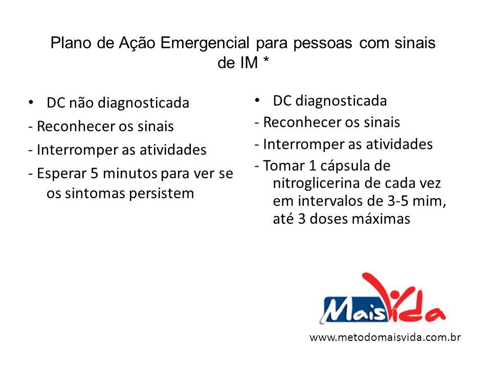Plano de Ação Emergencial para pessoas com sinais de IM * DC não diagnosticada - Reconhecer os sinais - Interromper as atividades - Esperar 5 minutos