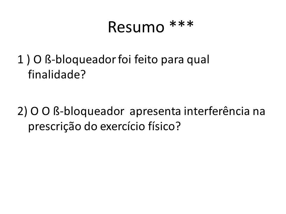 Resumo *** 1 ) O ß-bloqueador foi feito para qual finalidade? 2) O O ß-bloqueador apresenta interferência na prescrição do exercício físico?