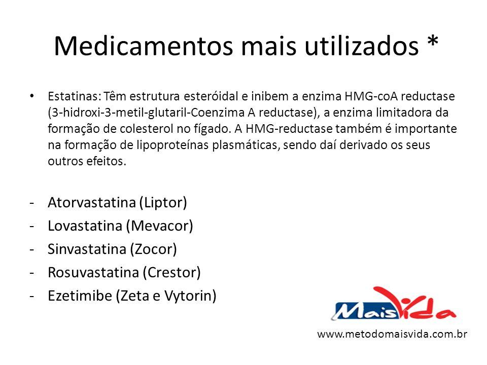 Medicamentos mais utilizados * Estatinas: Têm estrutura esteróidal e inibem a enzima HMG-coA reductase (3-hidroxi-3-metil-glutaril-Coenzima A reductas