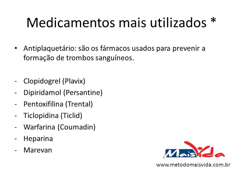 Medicamentos mais utilizados * Antiplaquetário: são os fármacos usados para prevenir a formação de trombos sanguíneos. -Clopidogrel (Plavix) -Dipirida