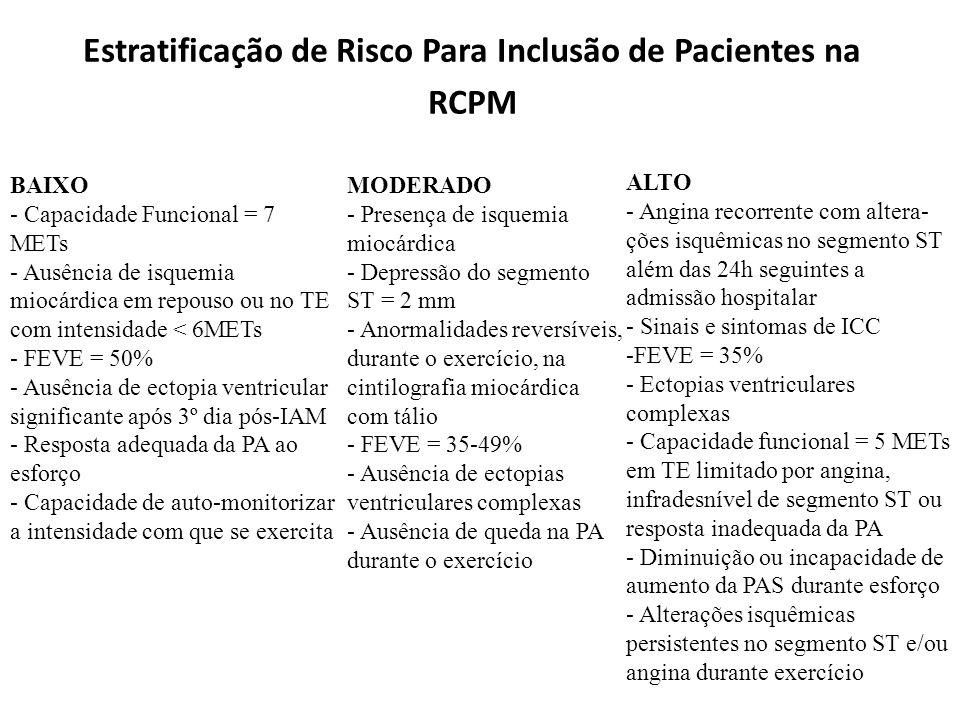 Estratificação de Risco Para Inclusão de Pacientes na RCPM BAIXO - Capacidade Funcional = 7 METs - Ausência de isquemia miocárdica em repouso ou no TE