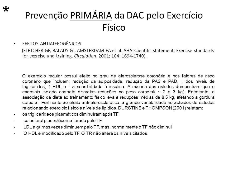 Prevenção PRIMÁRIA da DAC pelo Exercício Físico EFEITOS ANTIATEROGÊNICOS (FLETCHER GF, BALADY GJ, AMSTERDAM EA et al. AHA scientific statement. Exerci