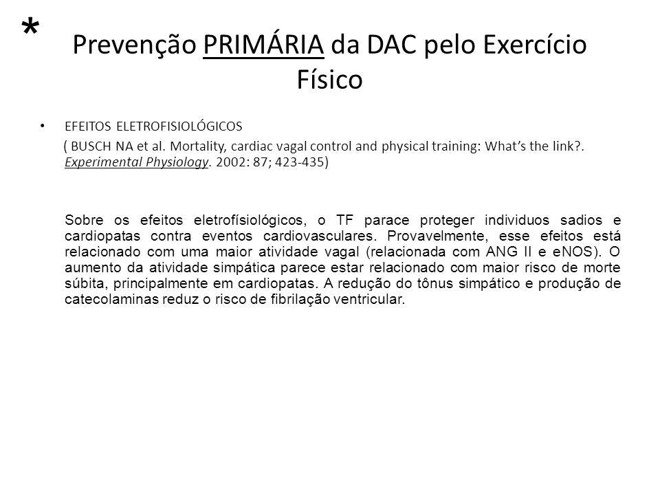 Prevenção PRIMÁRIA da DAC pelo Exercício Físico EFEITOS ELETROFISIOLÓGICOS ( BUSCH NA et al. Mortality, cardiac vagal control and physical training: W