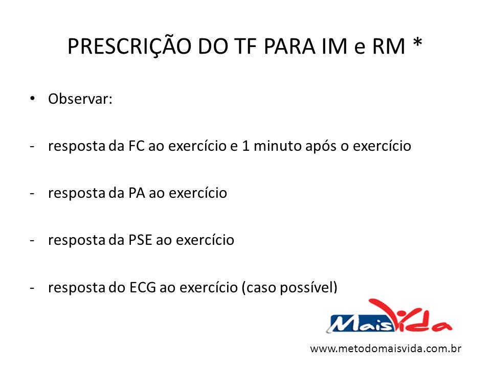 PRESCRIÇÃO DO TF PARA IM e RM * Observar: -resposta da FC ao exercício e 1 minuto após o exercício -resposta da PA ao exercício -resposta da PSE ao ex